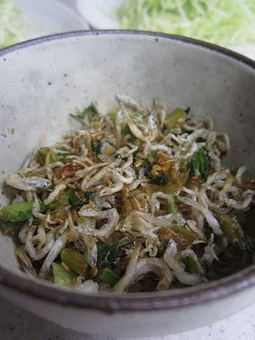 20150108 カブの葉ジャコ炒め