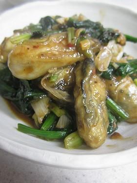 20150120 牡蠣とホウレンソウの豆鼓炒め
