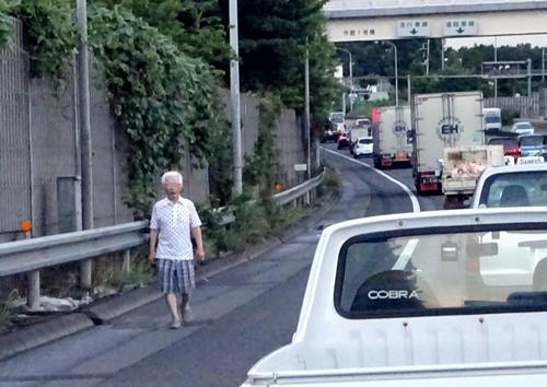 DSC02789保土ヶ谷バイパスを歩く老人