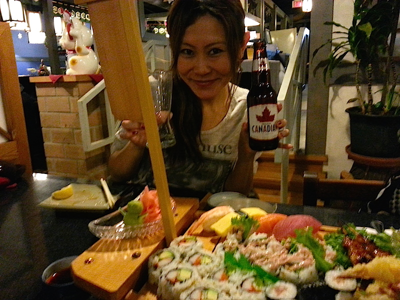 me infront of sushi boat