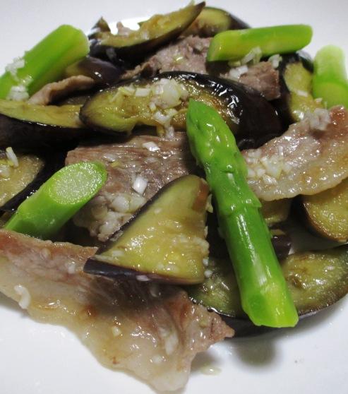 ナスと豚肉のネギ塩ダレ炒め 大
