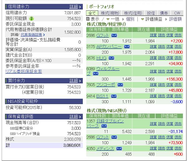 評価損益20150725