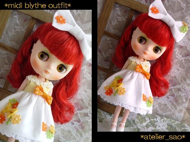 ◆ミディブライス服◆花とりぼん ライトイエロー×ホワイト◇ 1