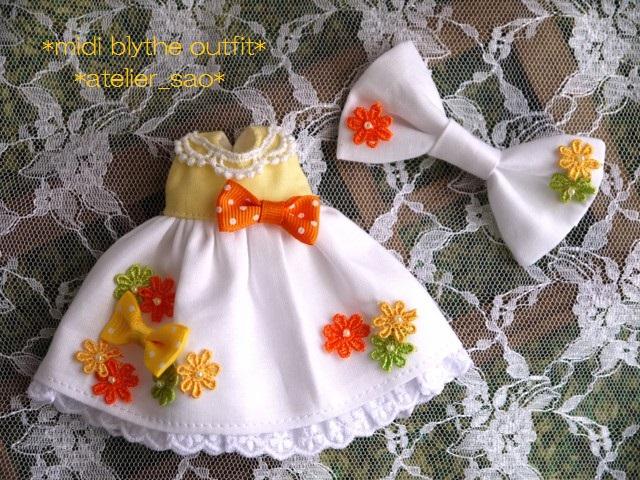 ◆ミディブライス服◆花とりぼん ライトイエロー×ホワイト◇ 3