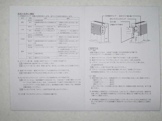GE-PON<FA>E GE-PON-ONU TYPE D<1>2 光回線終端装置 各部の名称と機能、ご使用方法