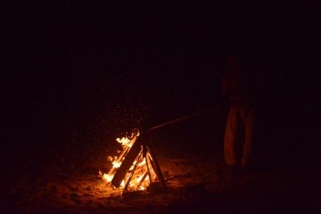 32海岸でたき火