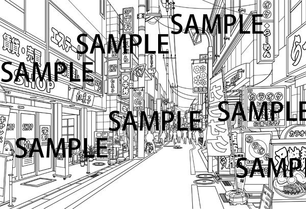 漫画背景素材「商店街」
