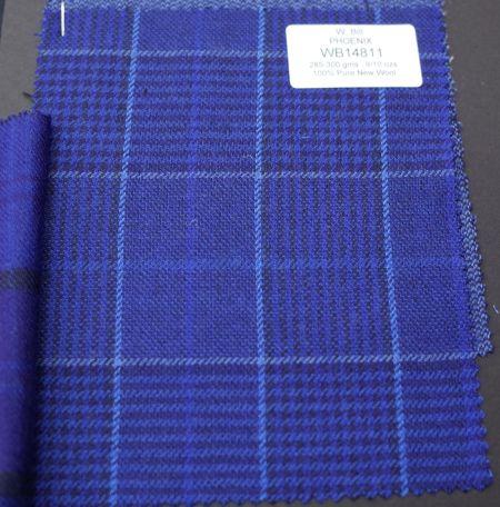 W.Billのジャケット生地PHOENIX(フェニックス)ブルーのグレンチェック