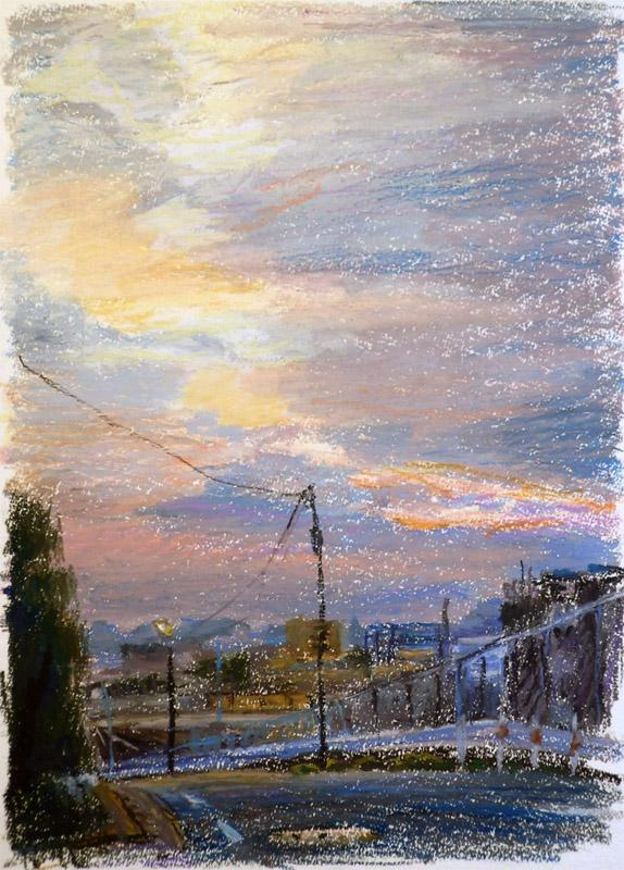 線路の見える夕景