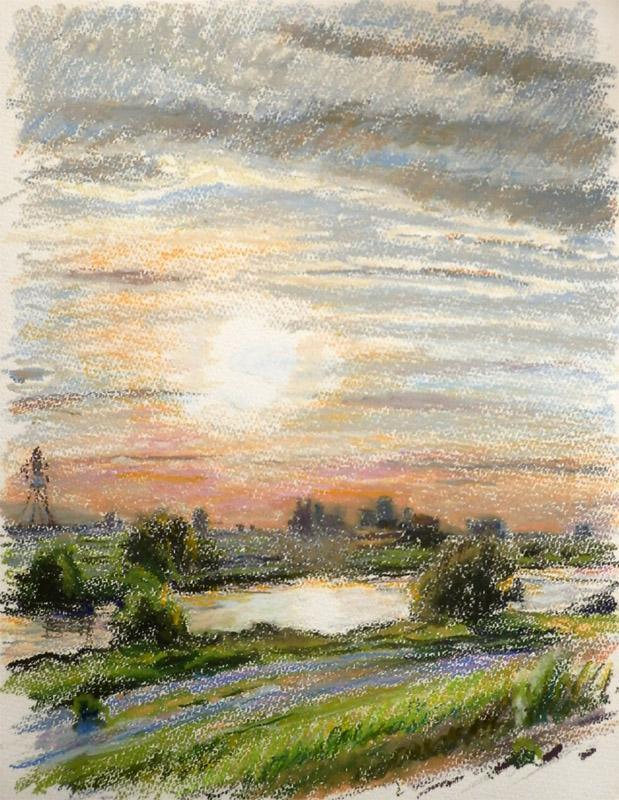 多摩川、光る夕景