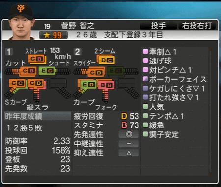 菅野智之 プロ野球スピリッツ2015 ver1.06