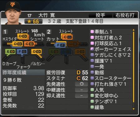大竹寛 プロ野球スピリッツ2015 ver1.06