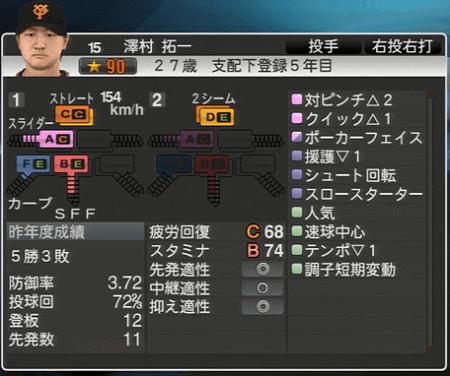 澤村祐一 プロ野球スピリッツ2015 ver1.06