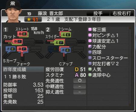 藤浪晋太郎 プロ野球スピリッツ2015 ver1.06