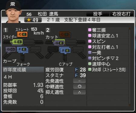松田遼馬 プロ野球スピリッツ2015 ver1.06