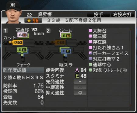 呉昇桓 プロ野球スピリッツ2015 ver1.06