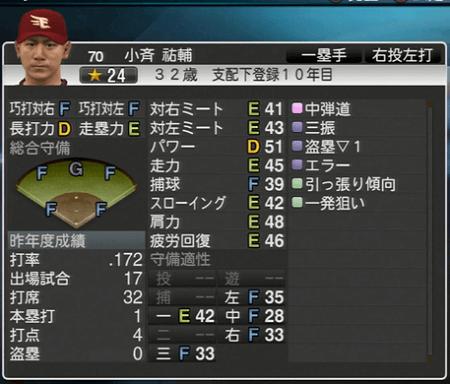 小斉 祐輔 プロ野球スピリッツ2015 ver1.07