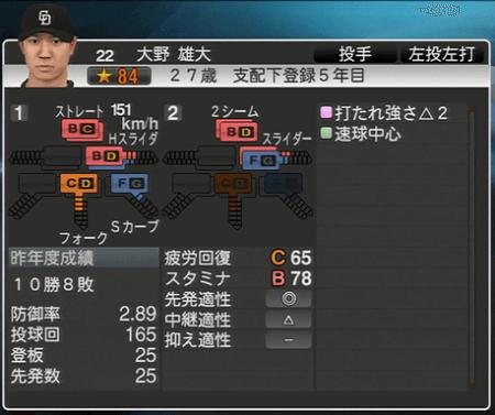 大野雄大 プロ野球スピリッツ2015 ver1.07