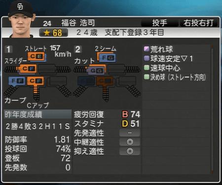 福谷浩司 プロ野球スピリッツ2015 ver1.07