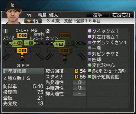 朝倉健太 プロ野球スピリッツ2015 ver1.07