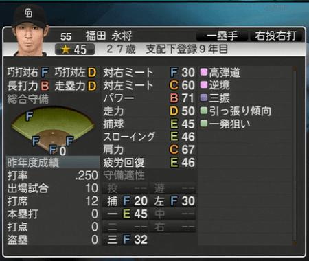 福田永将 プロ野球スピリッツ2015 ver1.07
