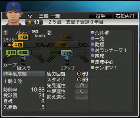 三嶋一輝 プロ野球スピリッツ2015 ver1.07