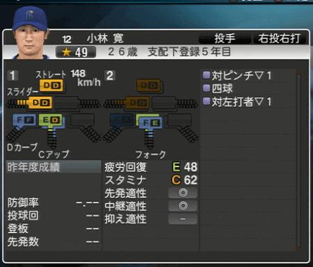 小林寛 プロ野球スピリッツ2015 ver1.07