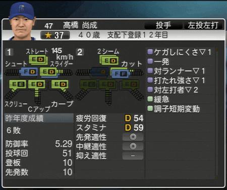 高橋尚成 プロ野球スピリッツ2015 ver1.07