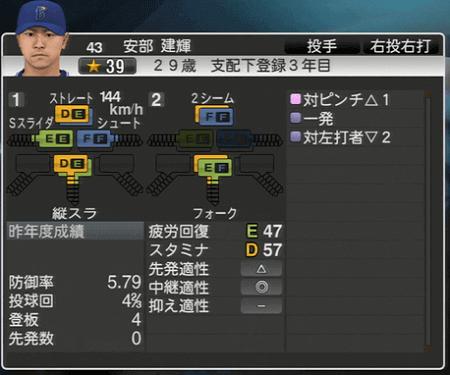 安部建輝 プロ野球スピリッツ2015 ver1.07