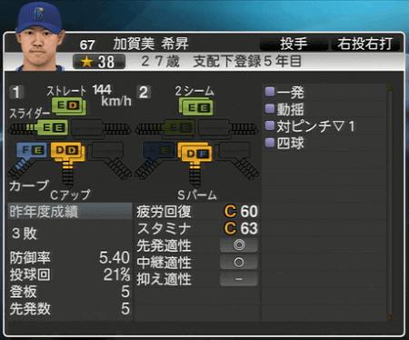 加賀美希昇 プロ野球スピリッツ2015 ver1.07