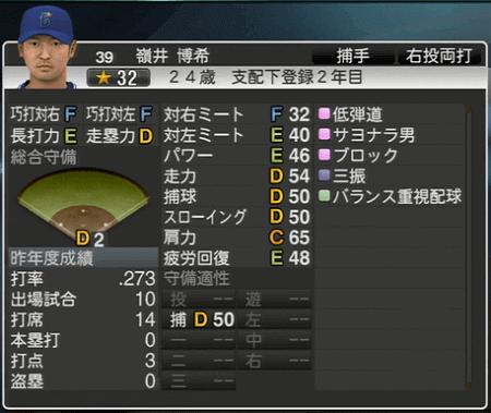 嶺井博希 プロ野球スピリッツ2015 ver1.07