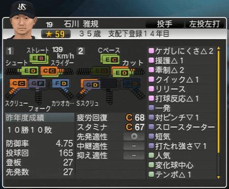 石川雅規 プロ野球スピリッツ2015 ver1.07