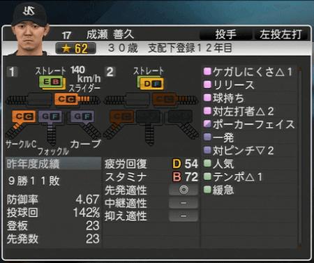 成瀬善久 プロ野球スピリッツ2015 ver1.07