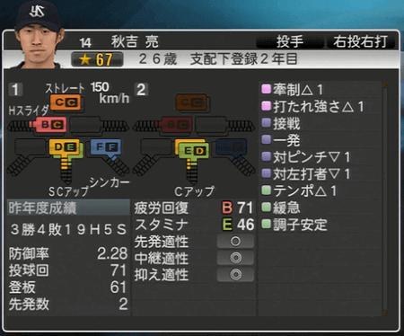 秋吉亮 プロ野球スピリッツ2015 ver1.07