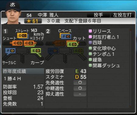 中澤雅人 プロ野球スピリッツ2015 ver1.07