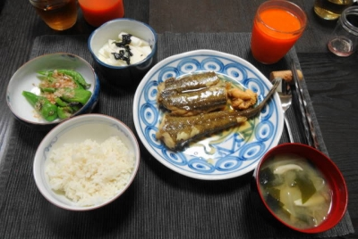 コチの煮付けと万願寺の晩ご飯