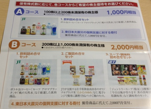 1,000円分・2,000円分の株主優待内容