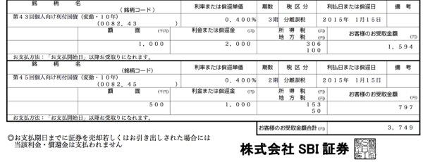 個人向け国債 利金3