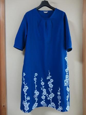 藍染梅の花浴衣ワンピース
