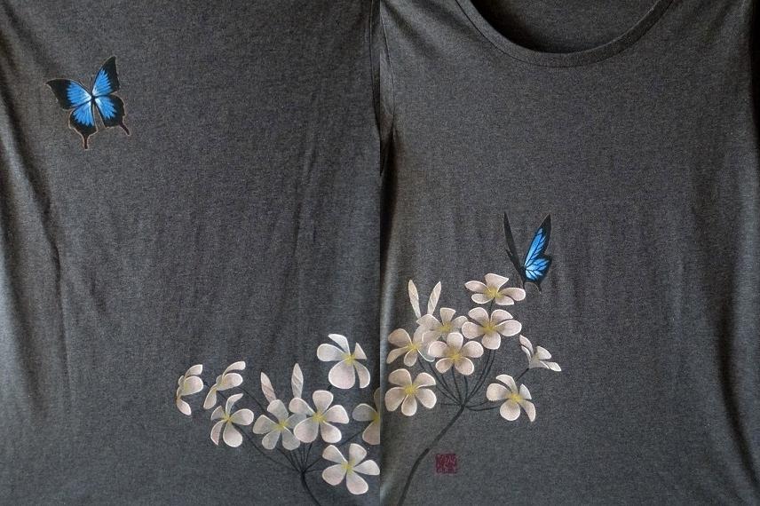 手描きTシャツ ユリシスとプルメリア