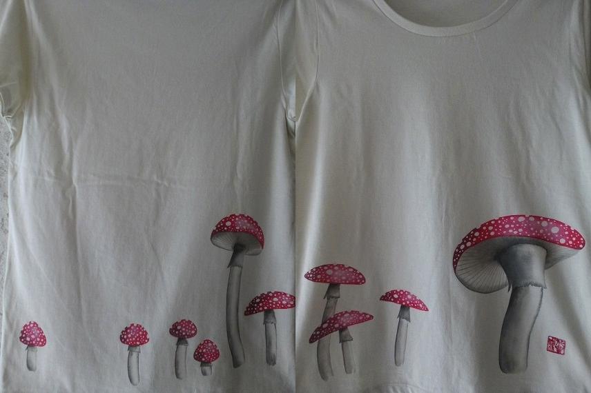 手描きTシャツ ベニテングタケ