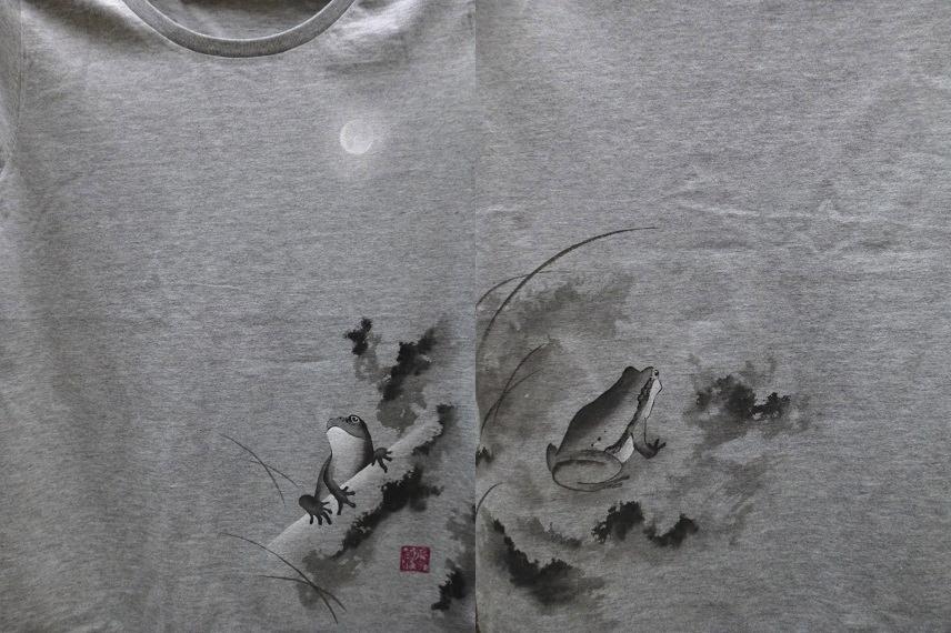 手描きTシャツ 月とカエル