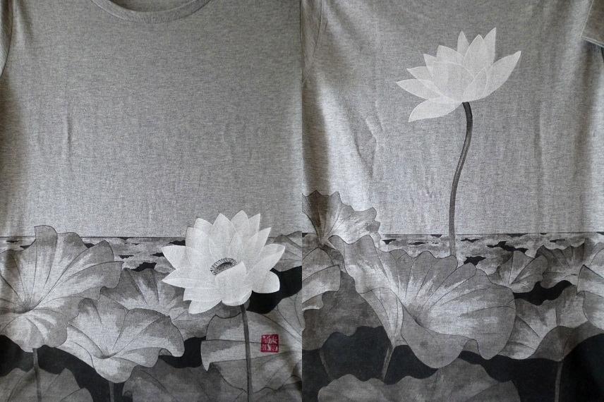 手描きTシャツ 蓮