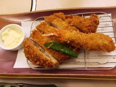 150627KYK梅田店チーズかつ御膳1050円チーズかつとエビフライ