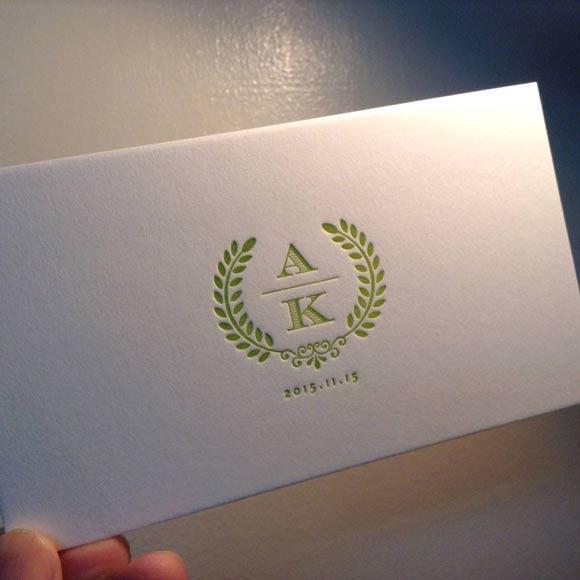 活版印刷の招待状 letterpress