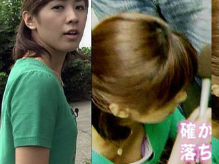 椿原慶子アナの乳首ポロリの胸チラ