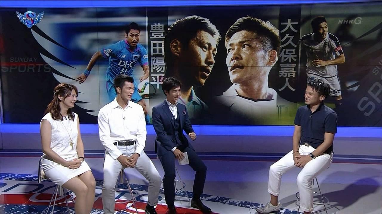 NHK「サンデースポーツ」でミニスカを履いた杉浦友紀アナの太もも
