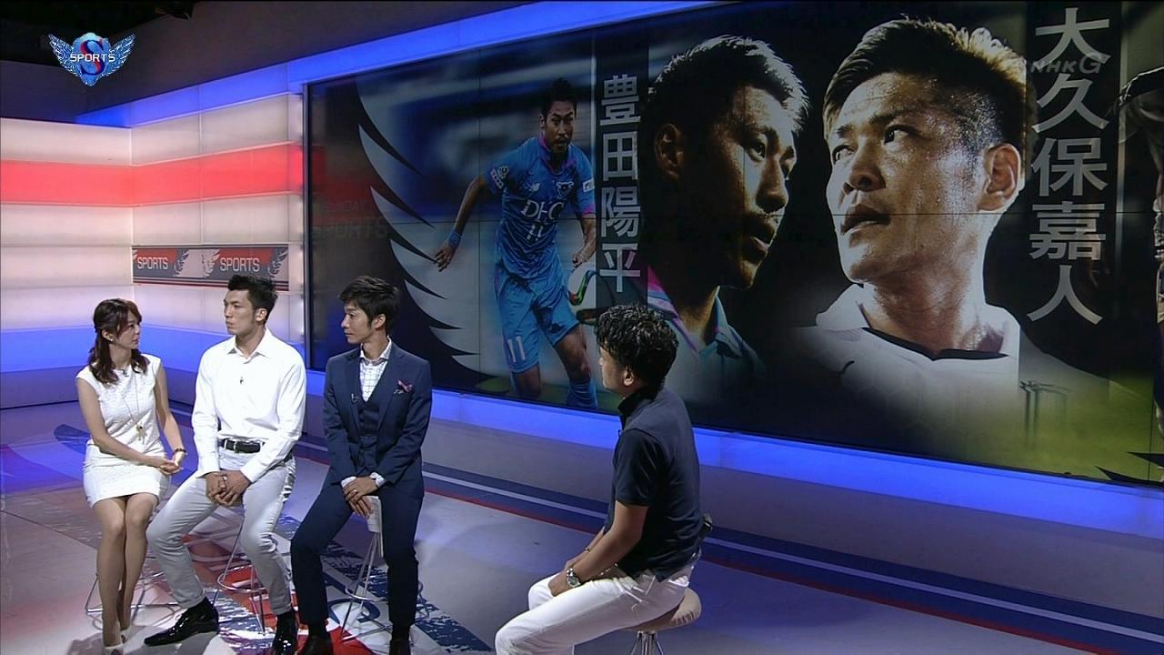 NHK「サンデースポーツ」でミニスカートを履いた杉浦友紀アナの太もも