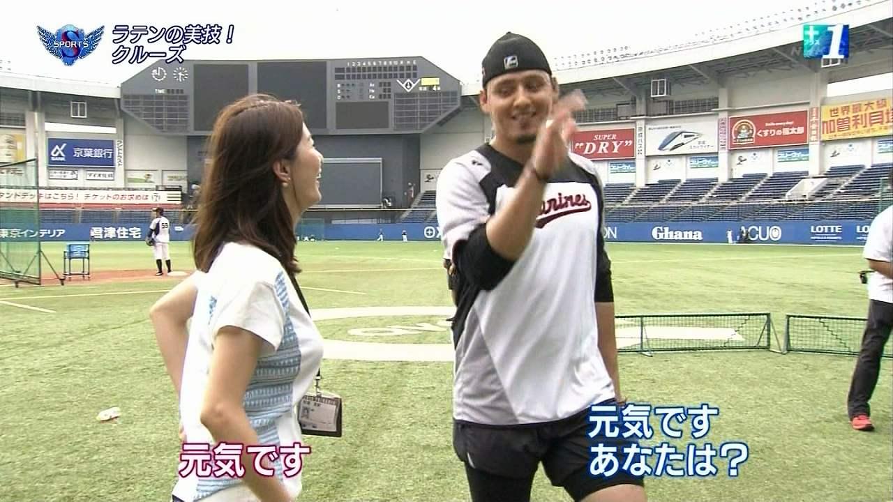 NHK「サタデースポーツ」、Tシャツで取材に出た杉浦友紀アナの横乳