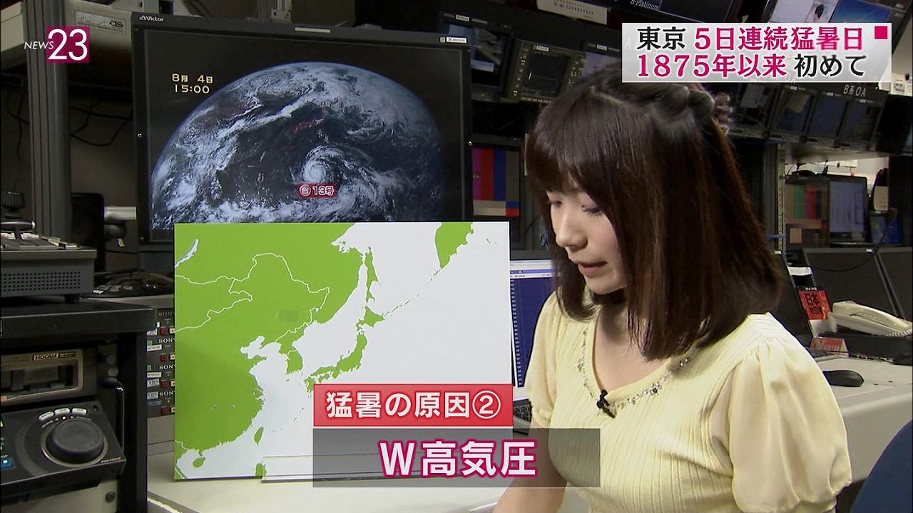 TBS「NEWS23」のお天気お姉さん、國本未華の着衣おっぱい